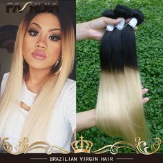 (82.35$)  Watch more here - http://aibov.worlditems.win/all/product.php?id=32542529627 - Brazillian Straight Hair Ombre 613 Blonde Virgin Hair 1b 613 No Tangle No Shedding Dark Roots Blonde Brazilian Human Straight