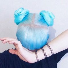 pretty blue hair in two buns with bangs