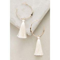 Melanie Auld Ewa Tasseled Hoops ($158) ❤ liked on Polyvore featuring jewelry, earrings, white, melanie auld, tassel earrings, 14k hoop earrings, 14k earrings and 14 karat gold earrings