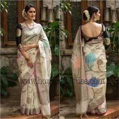 White with black brocade blouse Classic Indian Sari CLICK Visit link above for more info Sari Blouse Designs, Saree Blouse Patterns, Indian Dresses, Indian Outfits, Modern Saree, Stylish Sarees, Elegant Saree, Fancy Sarees, Saree Dress