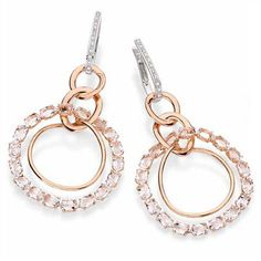 Looping Shine Casual Collection - Earrings in white and pink gold with diamonds and translucent quartz.