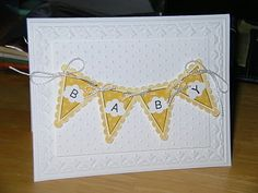 soft and pretty baby card.  Stampin' Up! embossing folder and the pennant punch.