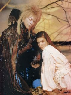 1986 - David Bowie as Jareth and Jennifer Connelly as Sarah in Labyrinth film. David Bowie Labyrinth, Labyrinth 1986, Labyrinth Movie, Jareth Labyrinth, Jennifer Connelly Labyrinth, Jennifer Connoly, Labyrinth Goblins, Sarah And Jareth, Jim Henson Labyrinth
