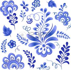 Floral elements blue style Russian gzhel Stock Photo