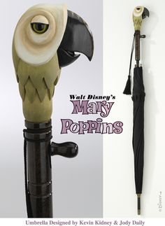 https://flic.kr/p/48VPN5 | Mary Poppins Umbrella | MARY POPPINS ANIMATED UMBRELLA Designed by Kevin Kidney & Jody Daily  Hand-carved wooden Parrot Handle with glass eyes, on Fabric and Metal Umbrella. Released in Fall 2006. Limited Edition.  © Disney   Not an exact replica, per se, but awfully close.  This is the third model of Mary Poppins' magical umbrella that we produced, and this is my favorite.  Not cast from the original movie prop as our previous umbrella replicas were, but carve...