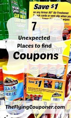 Unexpected Places to Find Coupons. With more and more of us looking to save money, coupons are now everywhere! Couponing and Extre couponing tips. Saving money tips and ideas. The Flying Couponer Extreme Couponing Tips, How To Start Couponing, Couponing For Beginners, Couponing 101, Couponing Websites, Ways To Save Money, Money Tips, Money Saving Tips, Money Savers