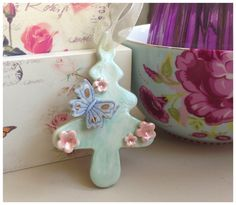Porcelain hanging tree with butterfly. Christmas. £4.99
