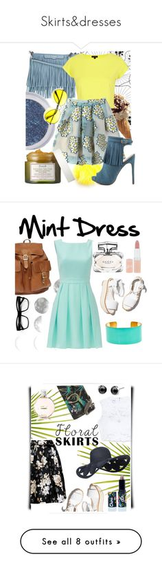 """Skirts&dresses"" by confused-and-nerdy ❤ liked on Polyvore featuring Percival, Rebecca Minkoff, Fendi, River Island, RED Valentino, Luichiny, Fresh, Kate Spade, Paloma Barceló and Fornash"
