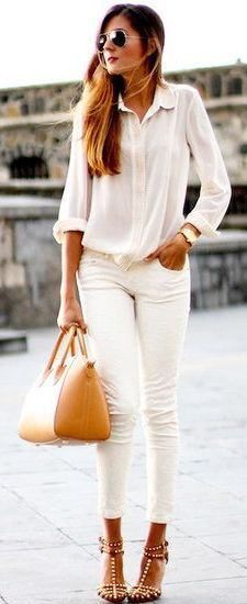 White jeans and great shoes