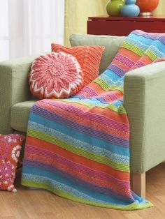 Striped Blanket | Yarn | Free Knitting Patterns | Crochet Patterns | Yarnspirations