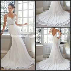 4654aa2dc1c China Beading Chiffon Empire Formal Gown Mermaid Bridal Wedding Dress Find  details about China Wedding Dress
