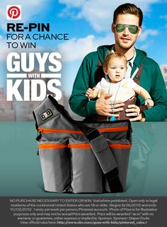 #GuyswithKidsSweeps gear giveaway! Enter to win a super manly Diaper Dude Diaper Bag when you RE-PIN this pin with the hashtag #GuyswithKidsSweeps.
