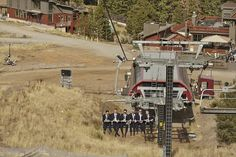 Groomsmen uploading the chairlift #mountainwedding #northstarwedding
