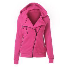 0cfa9a4d48f Women Autumn Winter Sweatshirt Zipper Hooded Jacket Hoodie Women s Hoodie  Solid Coat Clothing (Rose Red