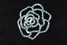 Opened Work Rose Brooch Signed Joan Rivers Green Rhinestone