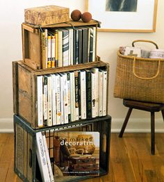 Love, love, love, love, love crates! It must be their rustic, vintage vibe. Plus, they will work anywhere - kitchen, bathroom, living room, office, basement. Definitely time to find more crates!