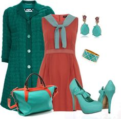"""aqua and rust"" by kswirsding ❤ liked on Polyvore"