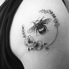bee and flowers in a kind of wreath <3