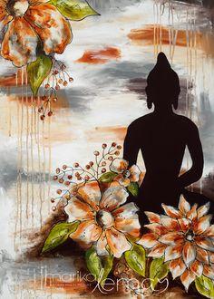 Greeting card orange Buddha flowers meditation mandala Marika Lemay mixed media artist zen modern card and envelope Lotus Buddha, Art Buddha, Buddha Painting, Buddha Buddhism, Mural Painting, Painting & Drawing, Mandala, Indian Art Paintings, New Art