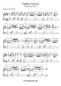 Yigidim Aslanim Kolay Piyano Notasi Pi Yano Notalara Dokulmus Muzik Flut