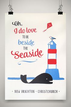 Beside the Seaside New Brighton, Christchurch Print by Marie Ockleford.