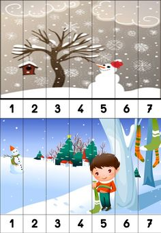 puzzles numériques Winter Activities For Toddlers, Preschool Christmas Activities, Seasons Activities, Winter Crafts For Kids, Kindergarten Activities, Winter Songs, Winter Fun, Teach English To Kids, Weather Crafts