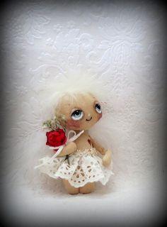 Tiny Valentine baby  Angel cloth doll by suziehayward on Etsy, $62.00