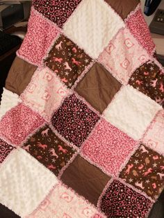 Baby or Toddler Girl Western Horse Rag Quilt by countrypickens, $45.00