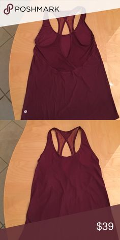 lululemon size 4 burgundy mesh tank Like new! Back has mesh. Four way stretch. Looser fitting yet looks tight. Very flattering especially if you are trying to conceal love handles ;) lululemon athletica Tops Tank Tops