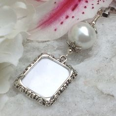 Wedding bouquet charm. White blue ivory or pink by SmilingBlueDog