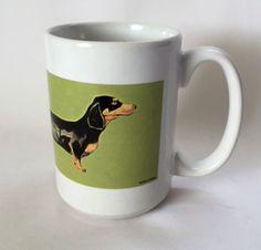 Dachshund Mug Long Dog Galligan Art Green Large 12 oz Coffee Cup