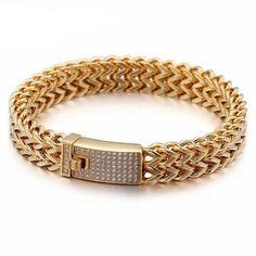 316 Stainless Steel Link Chain Bracelets For Men women Rhinestone Charm Trendy Gold Mesh Chain Bracelet Male female Birthday Gift 316 Stainless Steel, Stainless Steel Jewelry, Gents Bracelet, Bracelets For Men, Chain Bracelets, Wedding Bracelets, Gold Chains For Men, Unique Jewelry, Gold Jewelry