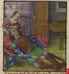 end of the 15th century (ca. 1490-1500) Netherlands - Bruges    London, British Library    Harley 4425: Roman de la Rose by Guillaume de Lorris and Jean de Meun    fol. 83v - Samson and Delilah    http://www.bl.uk/catalogues/illuminatedmanuscripts/ILLUMIN.ASP?Size=mid=31890