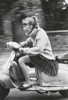 jean francois jonvelle vintage fashion style girl on a scooter vespa plaid skirt flat pointy shoes cowl sweater turtleneck Scooter Girl, Vespa Girl, Old Photos, Vintage Photos, Scooters Vespa, Lambretta Scooter, Scooter Motorcycle, Women Motorcycle, Motor Scooters