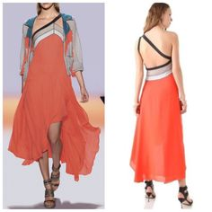 NEW BCBG MAXAZRIA RUNWAY Silk Coral KAIA Dress sz XXS PMX6R880 BT AMBROSIA $428 #BCBGMAXAZRIA…