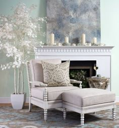 Jade Turbo Shell from Z Gallerie on chair.  Soft, feminine take on warming up by the fireplace.