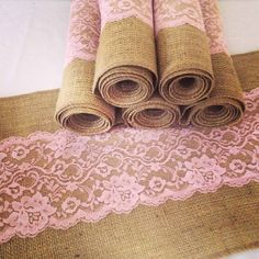 Burlap and Lace Table Runner  12 x 84 Burlap and by TwentyEight12, $22.00