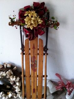 Christmas Porch Decor  a decorated antique sled by OdeToJune,