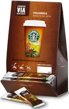 Starbucks VIA 50-pack: 28.95 + FREE shipping! {58c each}  #stockingstuffers