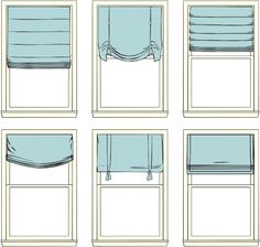 Roman Shade styles...for the big window over the tub.  Why DO they do that anyway???