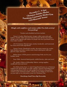 The Pearisburg Community Market presents Christmas Holiday Market on Saturday, December 5, 2015 at the Pearisburg Community Center.