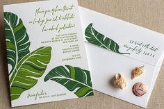 Letterpress Invitation  SAMPLE  tropical palm by echoletterpress, $1.00