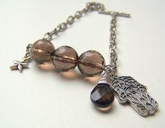 Silver Charm Bracelet with Smoky Quartz by ZhongFuJewelryDesign, $30.00