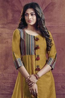 Picture of Classic yellow designer kurti with prints Salwar Neck Designs, Churidar Designs, Kurta Neck Design, Dress Neck Designs, Kurta Designs Women, Stylish Dress Designs, Stylish Dresses, Simple Dresses, Blouse Designs