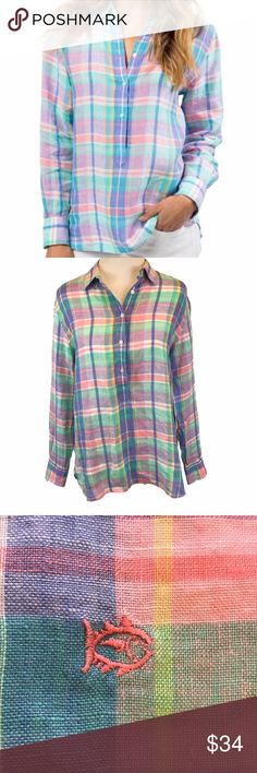 """Southern Tide Madras Plaid Linen Shirt Size Small Women's Southern Tide Havana Madras Plaid Linen Hadley Popover Shirt Top - feels light and breezy in soft linen, and the relaxed fit is perfect for a day on the beach or left untucked with jeans for a casual day out.  Half button front.  Pink, green, blue, purple, yellow and white plaid pattern.  Size Small 100% Linen Chest underarm to underarm:   21"""" Shoulders across the back:  18"""" Length in back:  30"""" Relaxed fit White etched buttons with…"""