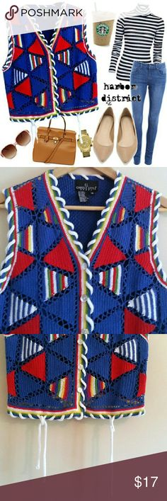 "Vintage 90s Bright Tassel Rainbow Vest - Size M/L Fun and unique knit. Vibrant rainbow colors. Buttons through the vest itself. Tassels in front. Bust: 39"", waist: 39"", length: 18"", size: vintage medium,  estimated modern M/L (PLEASE CHECK MEASUREMENTS), label: Carole Little Sport, materials: ramie, cotton. Carole Little Jackets & Coats Vests"