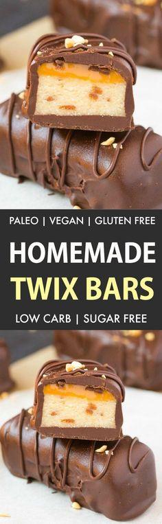 Homemade Paleo Vegan Twix Bars (Vegan, Sugar Free, No Bake)