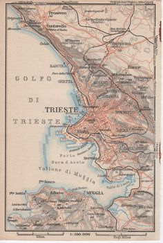 1928 Trieste Italy Antique Map Italia Adriatic Sea by Craftissimo, €9.95
