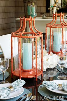 Orange faux bamboo lanterns add an orange Chinoiserie touch Dresser La Table, Faux Bamboo, Decoration Table, Traditional House, The Hamptons, Tablescapes, Home Accessories, Designer, Centerpieces