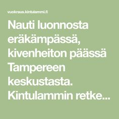 Nauti luonnosta eräkämpässä, kivenheiton päässä Tampereen keskustasta. Kintulammin retkeily- ja luonnonsuojelualueella on kaksi vuokrakämppää, Kortejärven tila ja Kintulammin maja. Tila, Avon, Math Equations